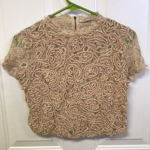 Zara, Crop, Short Sleeved, Light Pink, Lace Top S